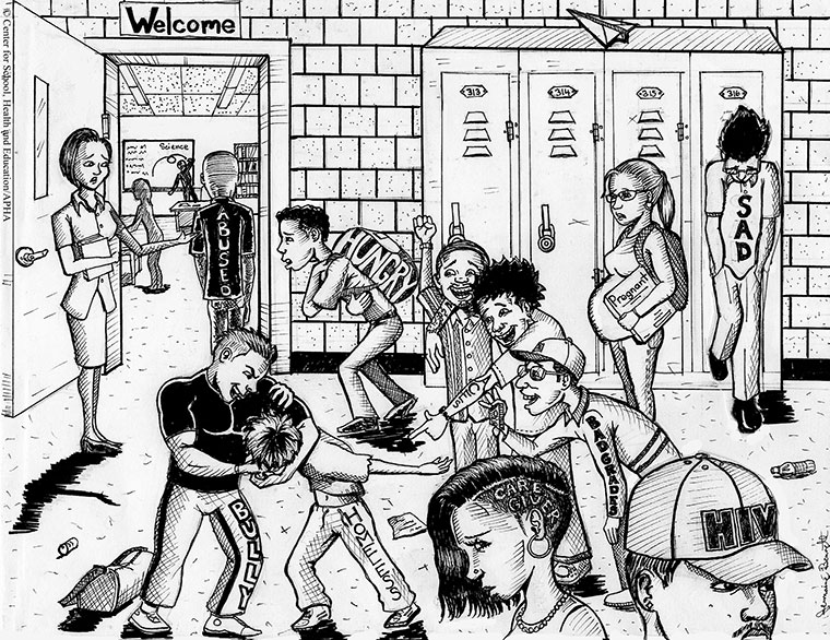 cartoon of students struggling in school hallway